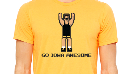 THE OFFICIAL GO IOWA AWESOME WRESTLING TEE