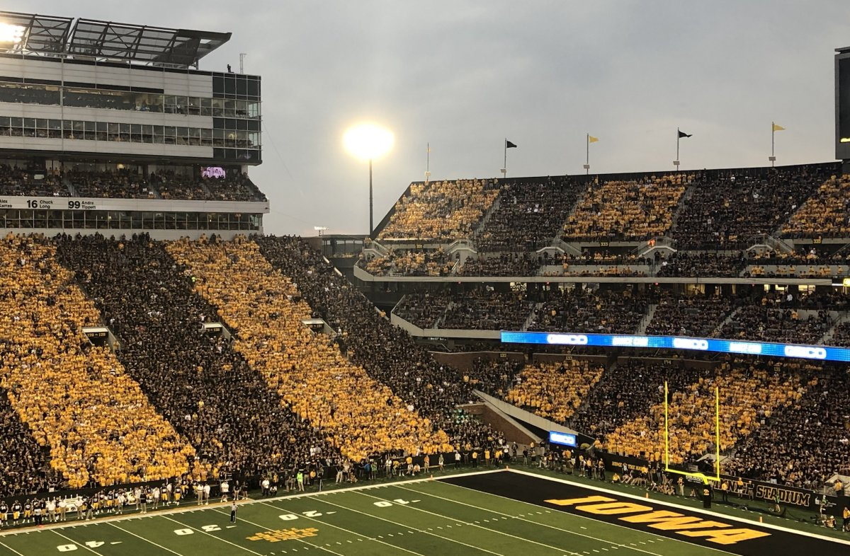 The northwest corner of Kinnick Stadium, filled with fans