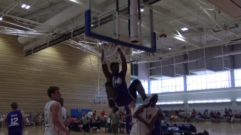Tyler Cook slams home a dunk during PTL competition.