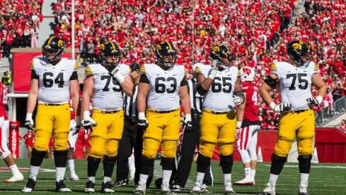 Iowa offensive line at Wisconsin