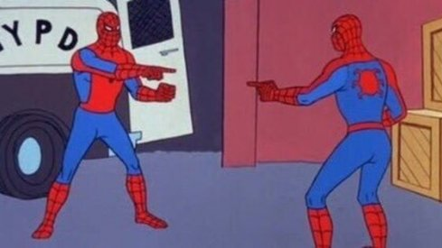 Spiderman pointing at Spider Man