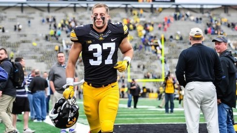 Brandon Snyder leaves the field after the Iowa-Illinois game.