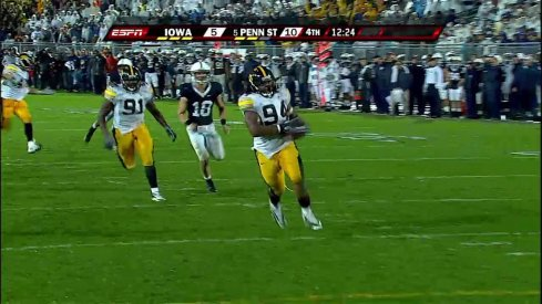 """Blocked! Scooped up! This is gonna be a Hawkeye touchdown!"""