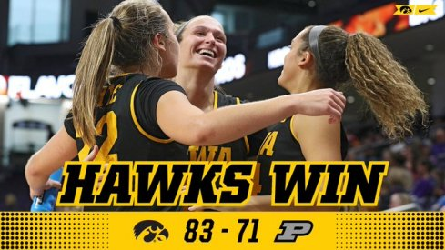 Iowa defeated Purdue 83-71 to setup a huge game at #13 Maryland on Thursday