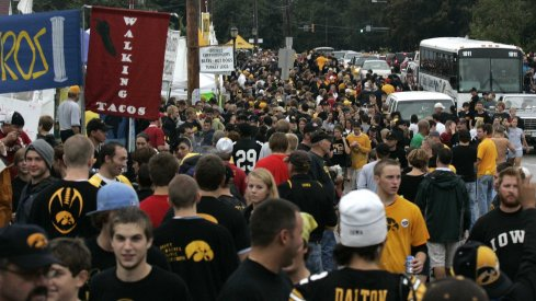 Iowa football fans walking around with no social distancing because that wasn't a thing yet