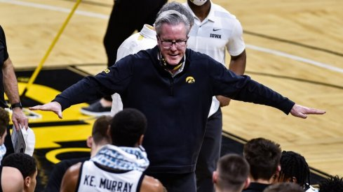 Iowa head coach Fran McCaffery, seen here personally demonstrating how to FLY, HAWKS, FLY.