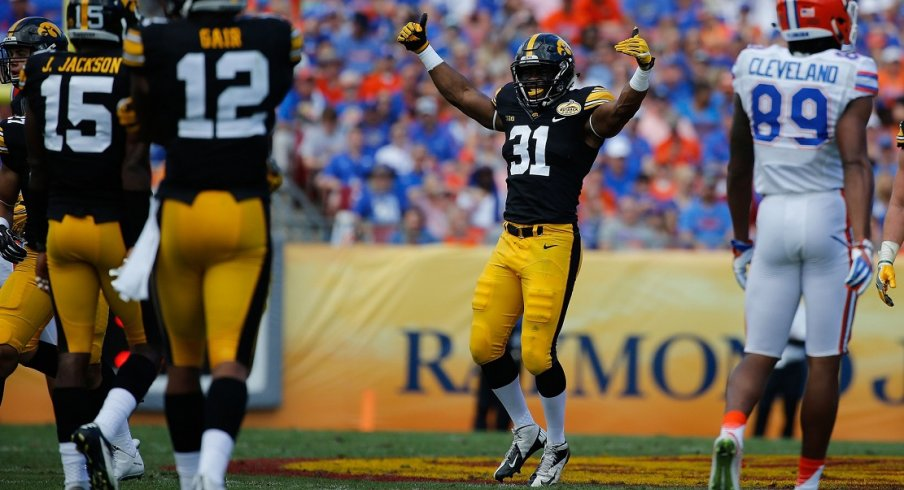 Aaron Mends, still playing football for the University of Iowa!