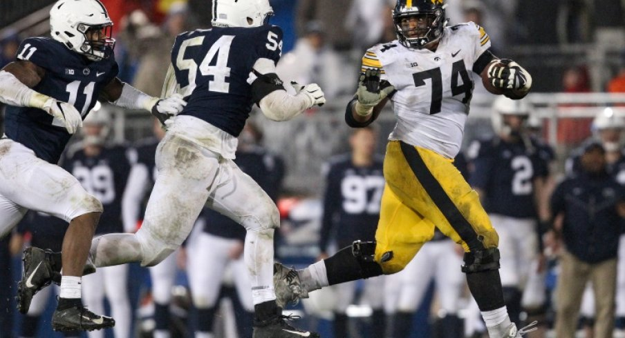 Somehow a huge dude always ends up with the ball at Penn State
